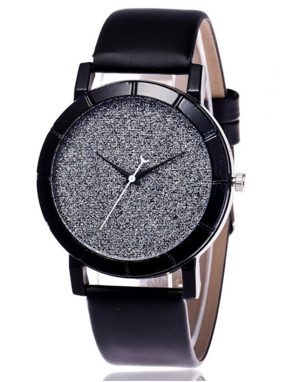 fashion Faux Leather Glitter Analog Watch - BLACK