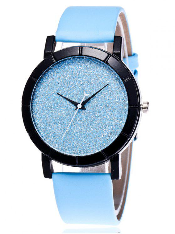 sale Faux Leather Glitter Analog Watch - BLUE