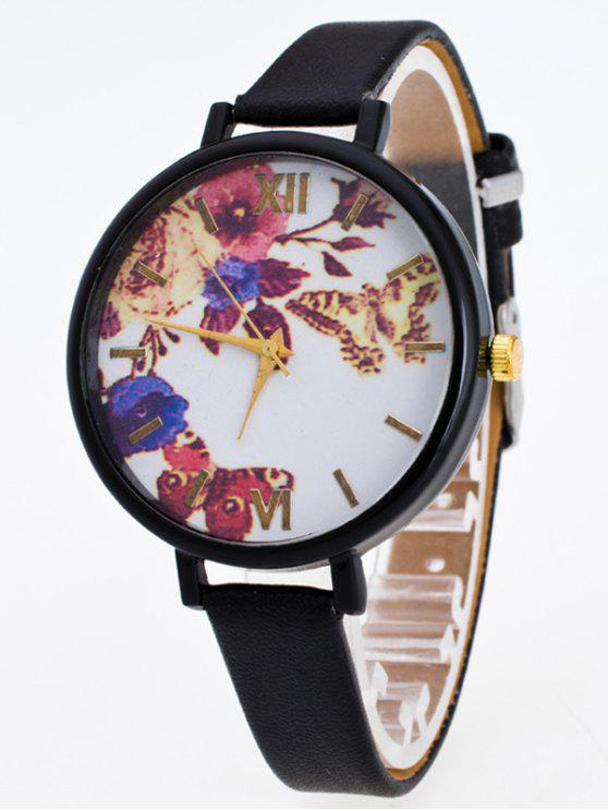 affordable Faux Leather Flower Butterfly Watch - BLACK