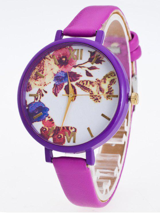Reloj Cuero Sintético Flor Mariposa - Púrpura