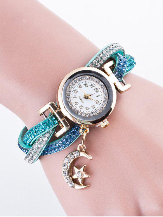Montre Bracelet Clouté en Strass - Bleu Léger