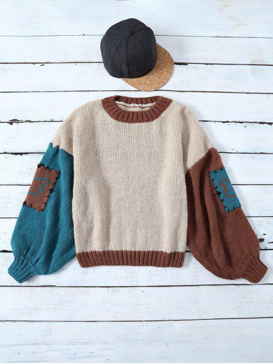 fashion Patched Slash Neck Color Block Sweater - KHAKI ONE SIZE