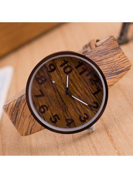 Reloj Grano Cuarzo Madera Cuero Sintético - Marrón Claro