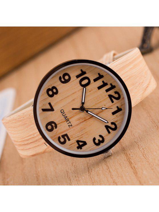 buy Faux Leather Wood Grain Watch - BEIGE