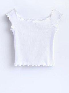 Off Shoulder Ruffles Crop Top - White S