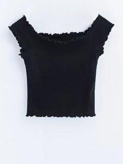 Volantes De Hombro Off Crop Top - Negro M