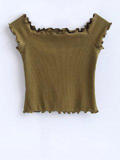 Off Shoulder Ruffles Crop Top - Army Green M