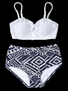 Geo High Waisted Underwired Bikini - Blue And White L