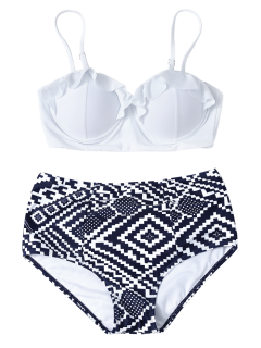 Geo High Waisted Underwired Bikini - Blue And White S