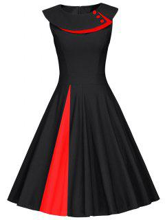Colorblock Sleeveless Pleated A Line Dress - Red With Black M