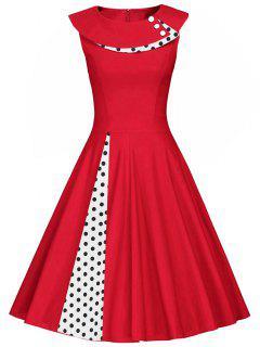 Polka Dot Sleeveless Pleated A Line Dress - Red S
