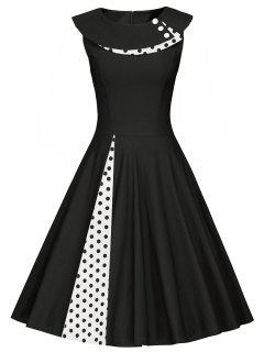 Polka Dot Sleeveless Pleated A Line Dress - Black M