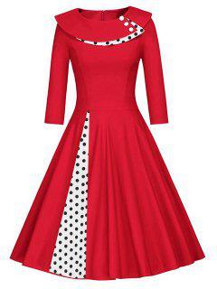 Pleated Polka Dot Swing A Line Dress - Red Xl