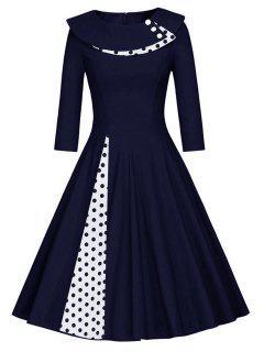 Pleated Polka Dot Swing A Line Dress - Purplish Blue Xl