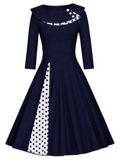 Pleated Polka Dot Swing A Line Dress - Purplish Blue S