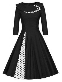 Pleated Polka Dot Swing A Line Dress - Black 2xl