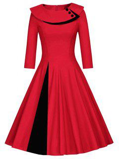 Pleated Color Block A Line Dress - Red With Black S