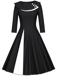 Pleated Color Block A Line Dress - White And Black L