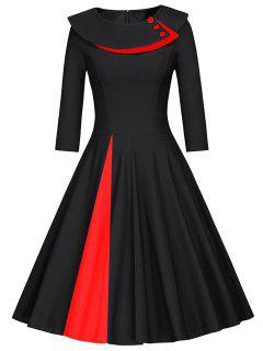Pleated Color Block A Line Dress - Black S