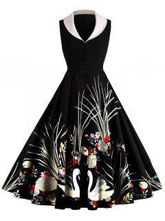 Shawl Collar Printed Sleeveless Flare Dress - Black L