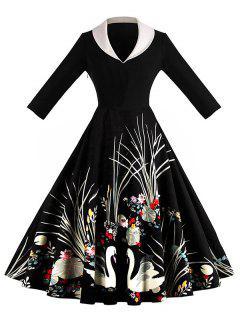 Shawl Collar Crane Print A Line Dress - Black 2xl