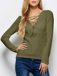 Ribbed Knit Lace Up Jumper - Army Green M