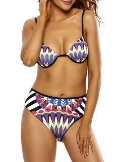 Totem Print Plunge Neck Bikini Set - Multicolor L