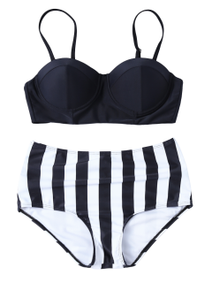 Striped High Waisted Underwired Bikini - Black S