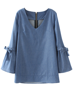 Long Sleeve Bowknot A-Line Dress - Blue S