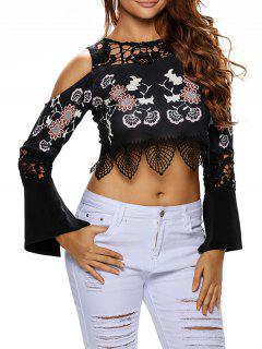 Flare Sleeve Cold Shoulder Printed Cropped Top - Black S