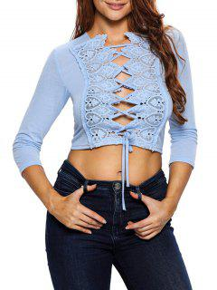 Lace Up Hollow Out Cropped Top - Light Blue S
