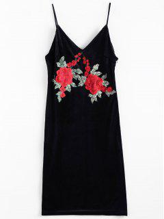 Embroidered Velvet Pencil Dress - Black L
