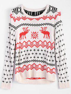 Reindeer Snowflake Jacquard Sweater - Abricot S