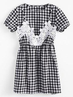 Lace Panel Short Sleeve Gingham Dress - Plaid Xl