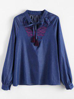 Embroidered Bib Denim Blouse - Denim Blue L