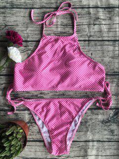 Side Tie Halter Plaid Bikini Set - Plum M