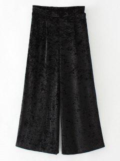 Loose Velvet Wide Leg Pants - Black L