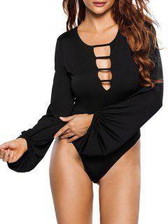 High Leg Hollow Out Puff Sleeve Bodysuit - Black S