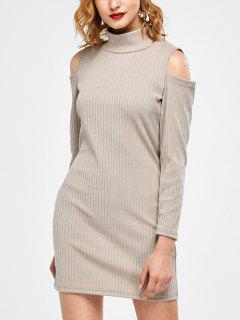 Mock Neck Cold Shoulder Fitted Knitted Dress - Light Gray S