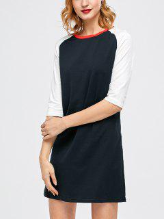 Raglan Sleeve Tunic T-Shirt Dress - Purplish Blue S