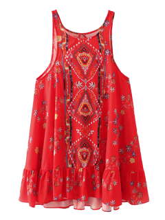 Vintage Print Mini Dress - Red S
