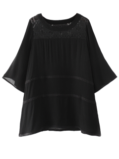 Smock Lace Mini Dress Panel - Noir M