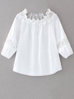 Off The Shoulder Lacework Blouse - Blanc M