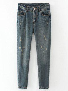 Frayed Broken Hole Pencil Jeans - Blue Gray S