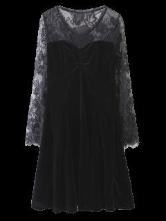 Long Sleeve Lace Panel A-Line Dress - Black L