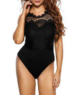 Lace Panel Low Back Bodysuit - Black S