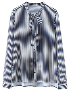 Bow Tie Striped High-Low Shirt - White And Black L