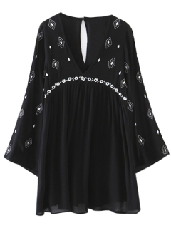 Flare Sleeve Embroidered Dress - Black S