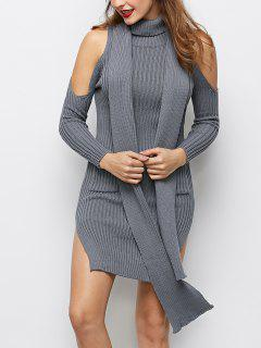 Slit Cold Shoulder Sweater Dress - Gray S