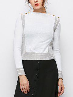 Side Slit Color Block Tricots - Blanc S
